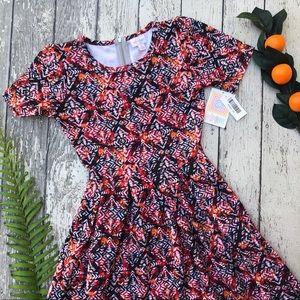LuLaRoe Orange Red White Amelia Dress